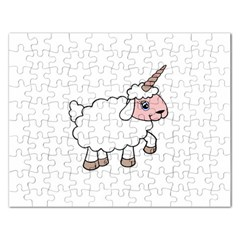 Unicorn Sheep Rectangular Jigsaw Puzzl by Valentinaart