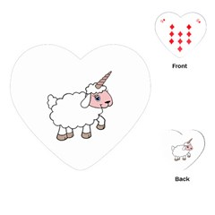 Unicorn Sheep Playing Cards (heart)  by Valentinaart