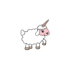Unicorn Sheep Shower Curtain 48  X 72  (small)  by Valentinaart