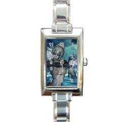 The Wonderful Water Fairy With Water Wings Rectangle Italian Charm Watch by FantasyWorld7