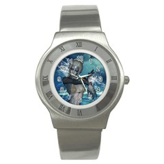 The Wonderful Water Fairy With Water Wings Stainless Steel Watch by FantasyWorld7