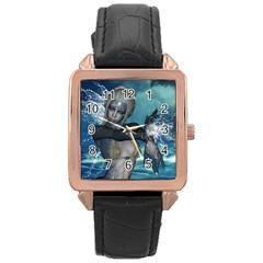 The Wonderful Water Fairy With Water Wings Rose Gold Leather Watch  by FantasyWorld7
