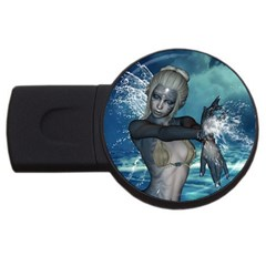 The Wonderful Water Fairy With Water Wings Usb Flash Drive Round (4 Gb) by FantasyWorld7