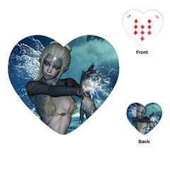 The Wonderful Water Fairy With Water Wings Playing Cards (heart)  by FantasyWorld7