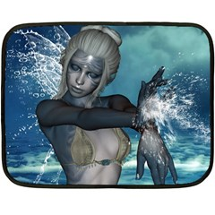 The Wonderful Water Fairy With Water Wings Double Sided Fleece Blanket (mini)  by FantasyWorld7