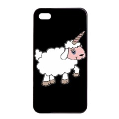 Unicorn Sheep Apple Iphone 4/4s Seamless Case (black) by Valentinaart