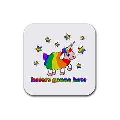 Unicorn Sheep Rubber Coaster (square)  by Valentinaart
