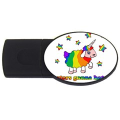 Unicorn Sheep Usb Flash Drive Oval (4 Gb) by Valentinaart