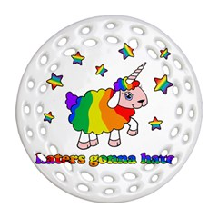 Unicorn Sheep Ornament (round Filigree) by Valentinaart