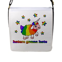Unicorn Sheep Flap Messenger Bag (l)  by Valentinaart