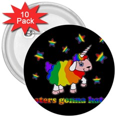 Unicorn Sheep 3  Buttons (10 Pack)  by Valentinaart