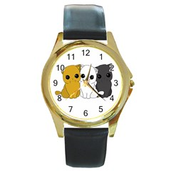 Cute Cats Round Gold Metal Watch by Valentinaart