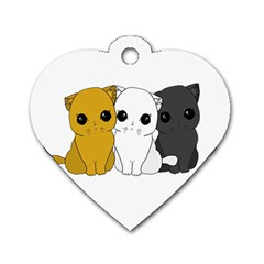 Cute Cats Dog Tag Heart (one Side) by Valentinaart