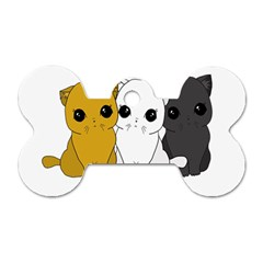 Cute Cats Dog Tag Bone (one Side) by Valentinaart