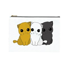 Cute Cats Cosmetic Bag (large)  by Valentinaart