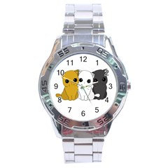 Cute Cats Stainless Steel Analogue Watch by Valentinaart