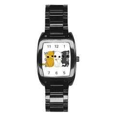 Cute Cats Stainless Steel Barrel Watch by Valentinaart