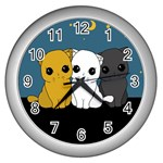 Cute cats Wall Clocks (Silver)