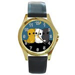Cute cats Round Gold Metal Watch