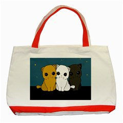 Cute Cats Classic Tote Bag (red) by Valentinaart
