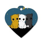 Cute cats Dog Tag Heart (Two Sides)