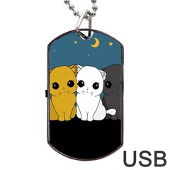 Cute Cats Dog Tag Usb Flash (two Sides) by Valentinaart