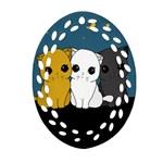 Cute cats Ornament (Oval Filigree)