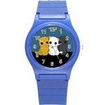 Cute cats Round Plastic Sport Watch (S)
