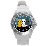 Cute cats Round Plastic Sport Watch (L)
