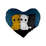 Cute cats Standard 16  Premium Heart Shape Cushions