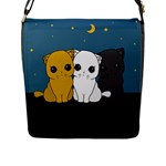 Cute cats Flap Messenger Bag (L)