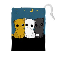 Cute Cats Drawstring Pouches (extra Large) by Valentinaart