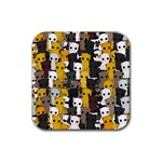 Cute cats pattern Rubber Coaster (Square)  Front
