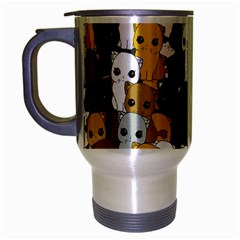 Cute Cats Pattern Travel Mug (silver Gray) by Valentinaart