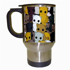 Cute Cats Pattern Travel Mugs (white) by Valentinaart