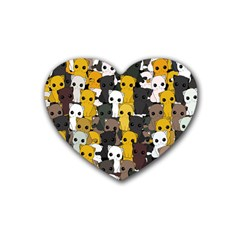 Cute Cats Pattern Rubber Coaster (heart)  by Valentinaart