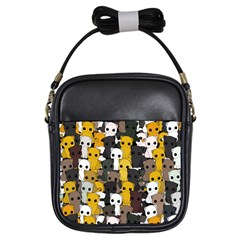 Cute Cats Pattern Girls Sling Bags by Valentinaart