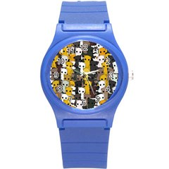 Cute Cats Pattern Round Plastic Sport Watch (s) by Valentinaart