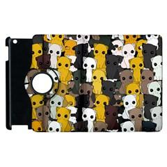 Cute Cats Pattern Apple Ipad 3/4 Flip 360 Case by Valentinaart