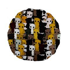 Cute Cats Pattern Standard 15  Premium Round Cushions by Valentinaart