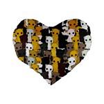 Cute cats pattern Standard 16  Premium Flano Heart Shape Cushions Back