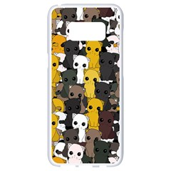 Cute Cats Pattern Samsung Galaxy S8 White Seamless Case by Valentinaart