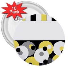 Black, Gray, Yellow Stripes And Dots 3  Buttons (10 Pack)  by theunrulyartist