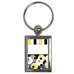 Black, Gray, Yellow Stripes And Dots Key Chains (rectangle)  by theunrulyartist