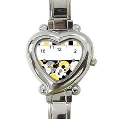 Black, Gray, Yellow Stripes And Dots Heart Italian Charm Watch by theunrulyartist