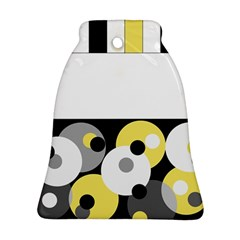Black, Gray, Yellow Stripes And Dots Ornament (bell) by theunrulyartist