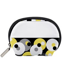 Black, Gray, Yellow Stripes And Dots Accessory Pouches (small)  by theunrulyartist