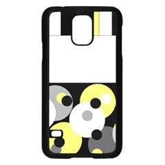 Black, Gray, Yellow Stripes And Dots Samsung Galaxy S5 Case (black) by theunrulyartist