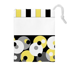 Black, Gray, Yellow Stripes And Dots Drawstring Pouches (extra Large) by digitaldivadesigns
