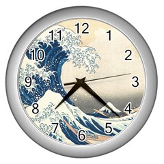 The Classic Japanese Great Wave Off Kanagawa By Hokusai Wall Clocks (silver)  by PodArtist
